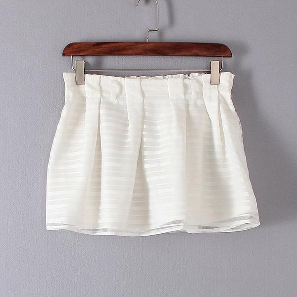 [超豐國際]夏裝女裝白色時尚名媛氣質高腰松緊裙褲 散1566(1入)