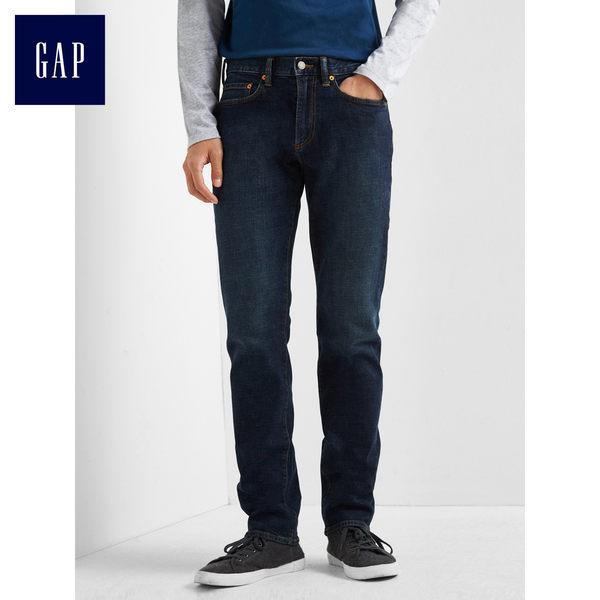 Gap男裝 1969丹寧深色水洗修身直筒牛仔褲 912027-深藍色