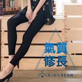 內搭褲--優雅氣質個性休閒鬆緊腰頭超彈力絲滑薄款內搭光澤褲(黑L-3L)-R182眼圈熊中大尺碼
