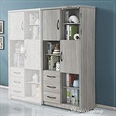 【水晶晶家具/傢俱首選】JF0819-3清心2.7尺鋼刷淺灰色雙門三抽雙門書櫃(單只)