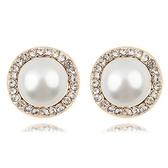 珍珠耳環 925純銀耳針式-圓形鑲鑽生日情人節禮物女飾品3色73bd171【時尚巴黎】