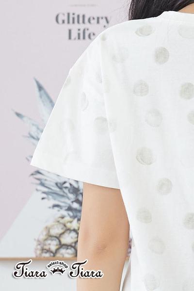 【Tiara Tiara】百貨同步aw 大水玉點點短袖上衣(白底藍水玉/白底灰水玉/卡其底黃水玉)