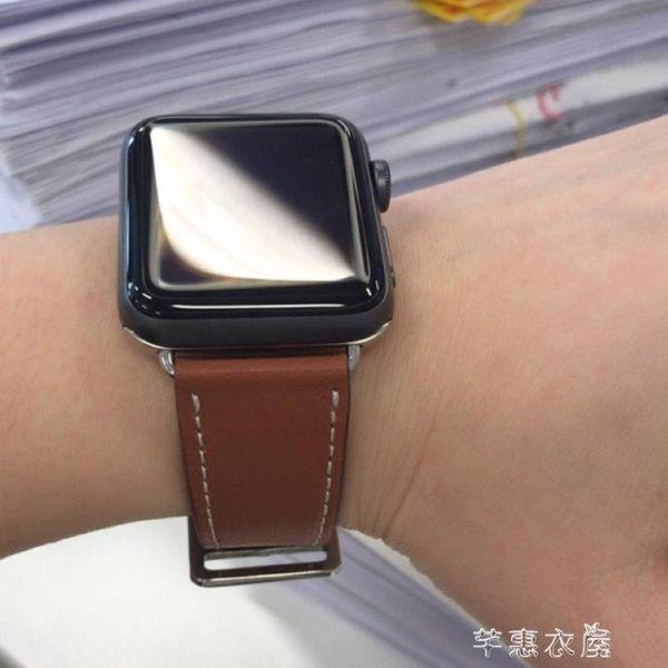 錶帶 適用apple watch錶帶愛馬仕蘋果手錶帶S4軟真皮潮iwatch2/3代女男38/42mm1代series透氣40mm44 芊惠衣屋