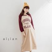 愛戀小媽咪 正韓 孕婦裝 VINGINO英文印字內刷毛棒球袖洋裝