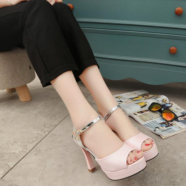 高跟涼鞋女夏新款細跟性感時尚魚嘴鞋防水台羅馬鞋潮韓版女鞋