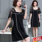 方領線條蕾絲袖洋裝 L~5XL【5789...