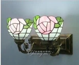 設計師美術精品館家居壁燈歐式燈簡約雙頭壁燈 蒂凡尼雙聯鏡前燈 彩色玻璃創意壁燈