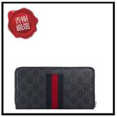 GUCCI藍紅織帶PVC黑色拉鏈長夾408831全新商品