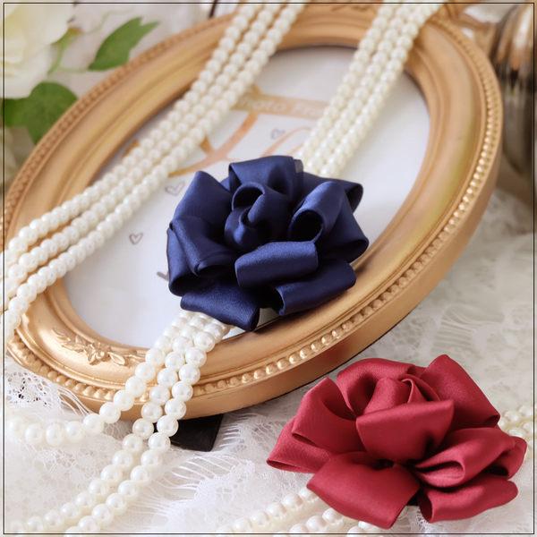優雅質感玫瑰花朵三鍊式珍珠項鍊~美之札