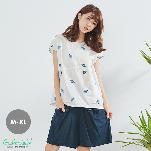 帽子刺繡獨家寬上衣(白藍)-M-XL【Gentle wind】
