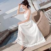 沙灘裙鏤空吊帶裙白色雪紡連衣裙女