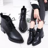 2020秋季新款中跟粗跟尖頭韓版女鞋短靴繫帶英倫馬丁靴裸靴女靴子 童趣