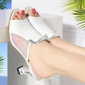 百麗純愛女鞋2019新款夏季魚嘴網紗涼鞋女高跟粗跟時尚外穿涼拖鞋