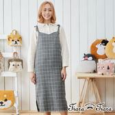 【Tiara Tiara】格紋直筒吊帶裙(灰/黑)