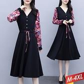 V領排釦繫帶印花袖洋裝 M~4XL【194802W】【現+預】-流行前線-