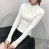 新款荷葉邊珍珠保暖厚毛衣女長袖針織衫