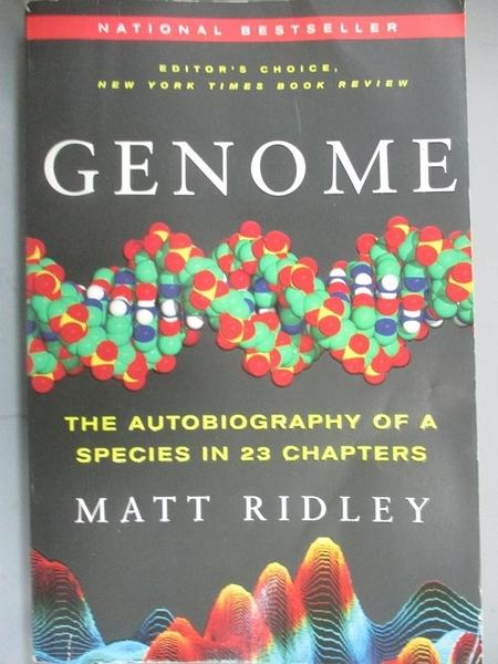 【書寶二手書T7/哲學_HHF】Genome: The Autobiography of a Species in 23 Chapters_Ridley, Matt