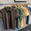 2020夏季珠地棉純色Polo衫男士短袖上衣時尚翻領修身韓版百搭T恤『小淇嚴選』
