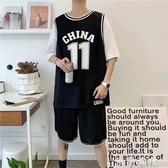 夏季運動套裝男士韓版潮流短袖t恤短褲跑步籃球衣服休閒假兩件套 米希美衣
