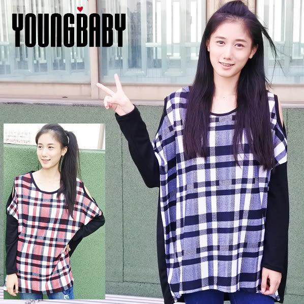 【YOUNGBABY】露肩彩色格紋拼接黑袖羊毛絨上衣.共2色