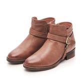 MICHELLE PARK 經典風範 皮帶拉鍊低跟短靴-橘棕