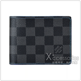 LV N64033 SLENDER棋盤格LOGO Damier Graphite帆布8卡對折短夾(藍)