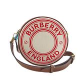 【台中米蘭站】全新品 BURBERRY Louise 帆布圓餅手拿斜背包(8036715-米白/咖)