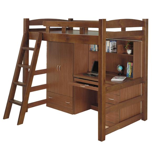 【采桔家居】  魯納特  時尚3.5尺多功能單人雙層床台組合(衣櫃+書桌&不含床墊)