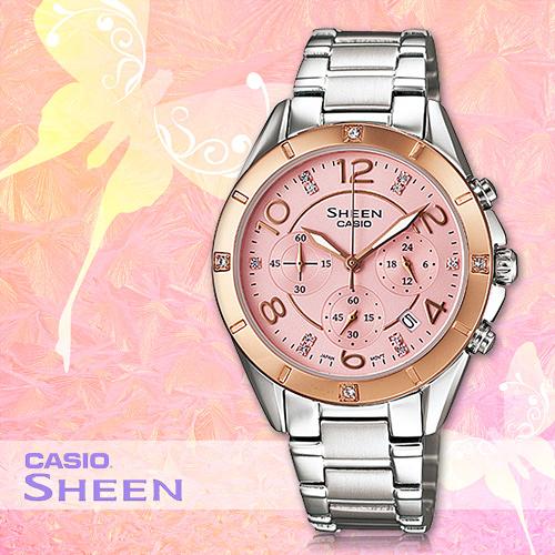 CASIO手錶專賣店 卡西歐 SHEEN SHE-5021SG-4A DR 女錶 玫瑰金 施華洛士奇 不鏽鋼錶帶&錶殼