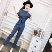 心機俏皮套裝女兩件套時髦套裝韓版氣質條紋短袖上衣系帶高腰長褲