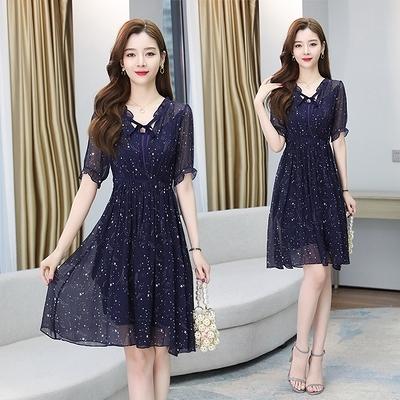 短袖洋裝 連身裙輕熟風S-2XL9237碎花雪紡連身裙女裝年新款夏季短袖收腰顯瘦氣質裙子H325依佳衣