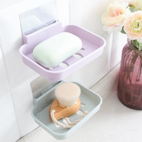 笑臉壁掛式肥皂盒 衛生間 浴室 廚房 強力 透明貼 香皂托 瀝水架【P408】米菈生活館