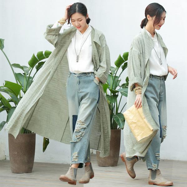 秋新款外套-綠色棉麻件染輕薄風衣/設計家