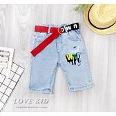 彩色塗鴉英字母雙口袋牛仔長褲 丹寧 附腰帶 春夏童裝 男童短褲 男童牛仔短褲 男童褲子