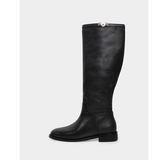真皮長靴-R&BB牛皮*極簡率性鉚釘釦 平底低跟馬靴-黑色/卡其