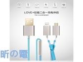 【世明國際】創意拉鏈充電/傳輸線i5/5s/6/6+ 安卓三星 HTC 小米通用二合一數據線一拖二充電線