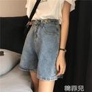 五分牛仔褲 夏季新款韓版高腰牛仔短褲女大碼胖mm寬鬆直筒闊腿五分中褲潮 韓菲兒