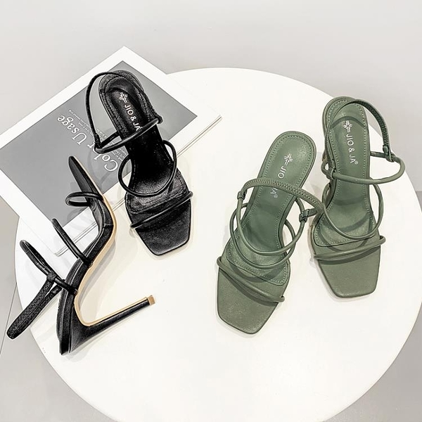 特惠 新款夏季網紅一字帶綠色高跟鞋細跟性感方頭羅馬涼鞋女仙女風
