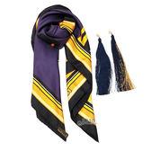 【Louis Vuitton 路易威登】M72912 Pompon Carre 斑馬紋彩繪流蘇絲巾