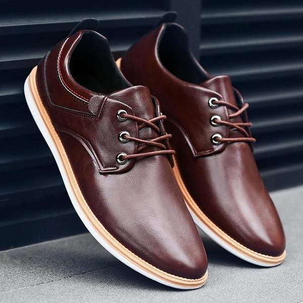 皮鞋男士夏季透氣男鞋正裝鞋子男式英倫潮鞋商務休閒鞋髮型師 童趣