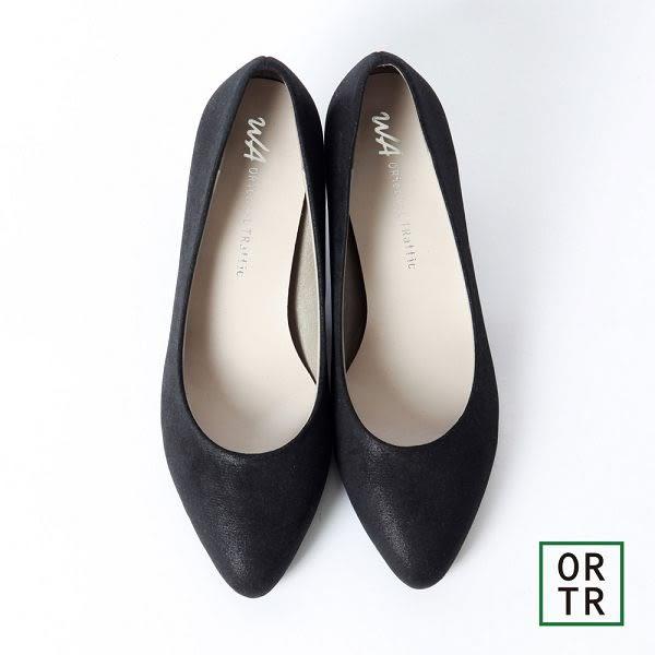 【ORiental TRaffic】小資甜心護趾舒適跟鞋-黑色