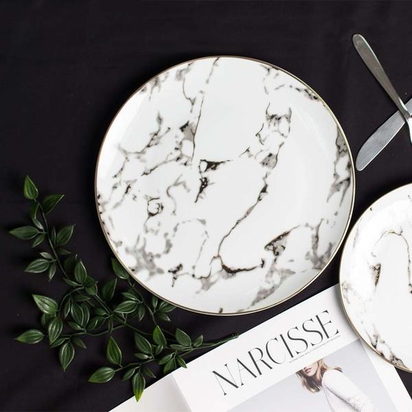 樂嫚妮 大理石紋金邊陶瓷餐盤 西餐盤子-10吋