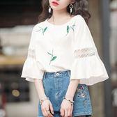 現貨出清-短袖上衣 春夏季鏤空蕾絲喇叭袖上衣女學生寬鬆白色短袖T恤打底衫