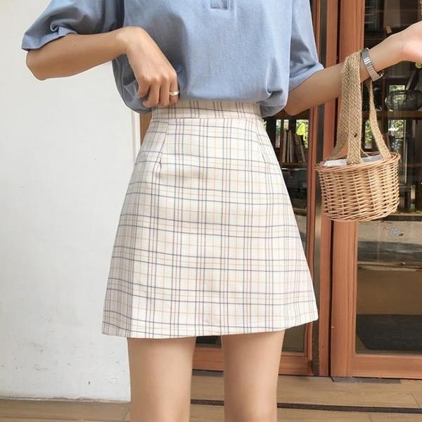 HXT格子半身裙女夏季新款2020年百搭學生高腰顯瘦包臀a字裙短裙 設計師生活百貨