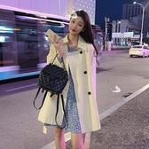 秋季新款韓版小個子氣質流行風衣女中長款英倫風繫帶時尚外套
