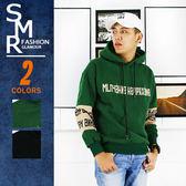 帽T-手袖麂皮刷毛帽T-街潮穿搭首選款《999788822》綠色.黑色【現貨+預購】『SMR』