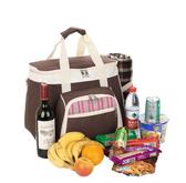野餐包 含2人餐具組-典雅手提氣質大容量雙頭拉鍊好開合手提包68ag47【時尚巴黎】