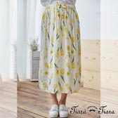 【Tiara Tiara】含苞待放鬆緊腰半身裙(黃)