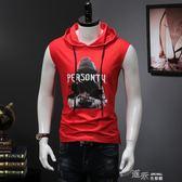 夏季紅色印花連帽無袖衛衣男休閒運動短袖t恤背心馬甲外套 道禾生活館