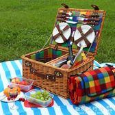 便攜野餐籃 柳編七彩格子帶蓋大號4人裝戶外野營野餐手提籃igo  歐韓流行館